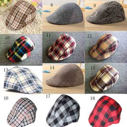 Wholesale Beret Kids Plaid Hats - New fashion Spring Autumn Simple Stripe   Plaid Design England Style Baby Beret Hat Boy Cap For Child Girl Beret Kid Hat Xmas gift