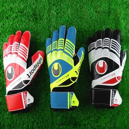 Wholesale Plain Black Gloves - New Professional goalkeeper gloves Finger protection latex soccer goalie protective gloves footbal sport goal keeper gloves