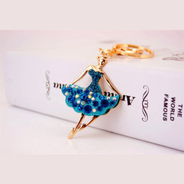 Wholesale Ballerina Keychain - Beautiful Ballet Ballerina Dancer Girl Souvenir Gift Keychain Purse Pendant For Car Keyring Holder Women Jewelry 5 Colors