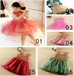 Wholesale Brand Certified - 2016 new girls sequin gauze dress round neck sleeveless vest dress bling tutu skirt princess girls party dress summer CTI-USA certified