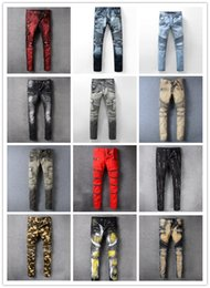 Wholesale Motorcycle Fit - Men's Distressed Ripped Biker Jeans US Size Slim Fit Motorcycle Biker Denim jeans Men Hip Hop Mens Jeans