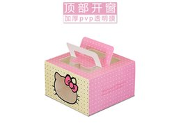 Wholesale Wedding Food Boxes - wholesale hello Kitty Window Cupcake Box, Cake Party baby shower Bakery box west point cake box more stylel mousse Cake Boxes with handle
