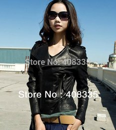Wholesale Leather Jackets Without Collar - Wholesale-2015 New Arrived Fashion Style Women's Faux Leather Jacket Without Collar Epaulet, Women's Motorcycle Jacket Coat.