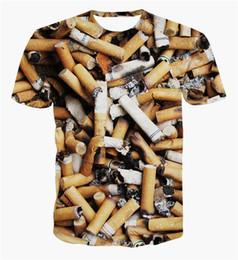 Wholesale El Cigarettes - FG1509 2015 Summer Style Fashion Men Women 3D Print Cigarette Butt T-shirts Unisex Short Sleeves smoking Tshirt Harajuku Tee Shirt