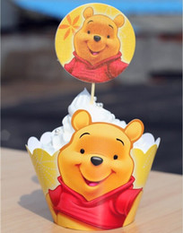 Wholesale Birthday Cake Decorating Supplies - Movie Winnie the Pooh Cupcake Wrapper Decorating Boxes Cake Cup With Toppers Picks For Kids Birthday Christmas Decorations Supplies