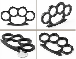 Wholesale 8mm Steel - 2PCS Silver and Black Thin Steel Brass knuckle dusters 8mm