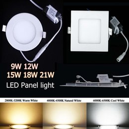 Wholesale Downlight Led 21w - Super-Thin Dimmable SMD2835 LED Panel Lights 9W 12W 15W 18W 21W Warm Nature Cool White Round Square Shape 110-240V Led Recessed Downlight CE