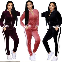 Wholesale Ladies Zip Jacket - Ladies Winter Autumn Casual Velvet Two-piece Outfits Long Sleeved Jacket + Long Pant Womens Fall Sweatsuits Tracksuit