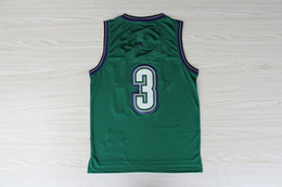 Wholesale New Jersey Fabric - # 3 Jersey green vintage new fabrics Jersey Basketball Jersey, S-XXL Throwback Basketball Jerseys Accept Mix Order