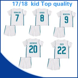 Wholesale Kids Red Clothes - Child's clothes suit white Real Madrid football home court 17 18 Real Madrid #7 RONALDO #20 ASENSIO #22 ISCO Soccer Shirts uniform Kids