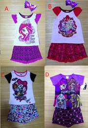 Wholesale Ever After - 4 styles new Girl Monster High School Summer Clothing Sets Girl's Children ever after high Short sleeveT Shirt+Short Pants kids Suits