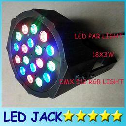 Wholesale Dmx Dj Led Light - DHL Free shipping Big Led stage light 18x3W 54W 85-265V High Power RGB Par Lighting With DMX 512 Master Slave Led Flat DJ Auto-Controller