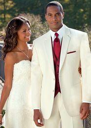 Wholesale Groom Handkerchief - Ivory Wedding Suits Groom Tuxedos 2018 Groomsmen Best Mens Wedding Prom Formal Suits Custom Made (Jacket+Pants+Vest+Tie+Handkerchief)
