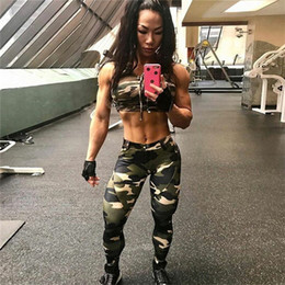 Wholesale Military Leggings - High Quality Military Camouflage Leopard Print Leggings Chic Tight Feminas Pencil Pants Skinny Active Sport Pants Sexy Women Bottoms