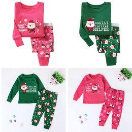 325dc23218120 Pyjamas de Noël Enfants Automne Hiver Enfants Pyjamas Infantile Enfants  Vêtements Tops + Pantalon 2 PCS Ensemble Père Noël Tenue Bébé Noël Tenue