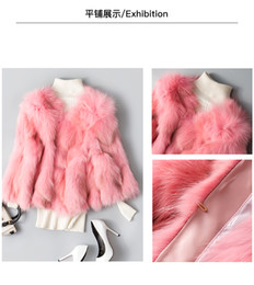 Wholesale Womens Real Fur Jacket - Womens Clothing Winter Pink Real Fox Fur Coat Jacket Ladies Fur Peacoat Outwear Round Neck Long Sleeve Parka Coats Short Coats Warm Outwear