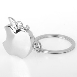 Wholesale Mini Keychain Ring - Wholesale 10Pcs lot Novelty Souvenir Toys Mini Metal Apple Key Chain Creative Gifts Apple Keychain Key Ring Trinket Keyring