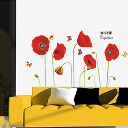 Wholesale Red Poppy Wall Stickers - Home Decoration Bright Red Corn Poppy Beautiful Stickers Art Decor Mural Room Decal Adesivo De Parede DIY Wall Sticke Wallpaper