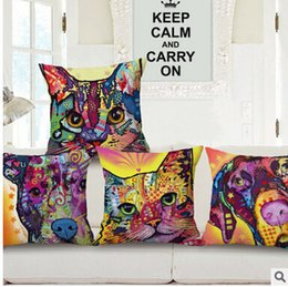 Wholesale Blending Oil Paints - Oil Painting Pop Dog Cat Pillow Covers Cartoon Cushion Covers Linen Christmas Pillow Case Cushion Cover European Throw Pillow Cases 986m