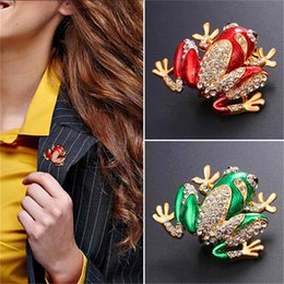 Wholesale Quality Components - U7 Jewelry Cute Frog Brooch Luxury Rhinestone& High Quality Enamel Frog Jewelry Component 18K Gold Plated Vintage Frog Brooch Pin B2724