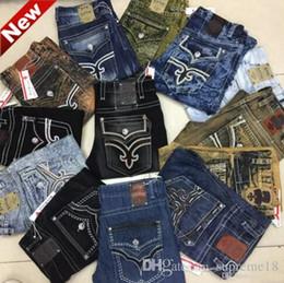 Wholesale Yellow Boys Trousers - Fashion Mens Robin Rock Revival Jeans Street Style Boy Jeans Denim Pants Designer Trousers Men's Size 32-42 New true jeans
