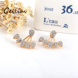 Wholesale Double Stud Ring - New Fashion Full Rhinestone Water Drop Stud Earrings Double Sided Flower Stud Earrings For Women exquisite Piercing Ear rings Lover Gifts