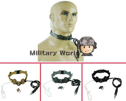 Wholesale Black Throat Mic - Top Element Z-Tactical Advanced Tactical Throat Mic Headset Military Airsoft Army Hunting Shooting Camping Headset Black Tan ACU order<$18no