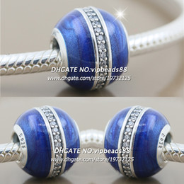 Wholesale Pandora S925 - New 2017 Winter S925 Sterling Silver Midnight Blue Star Tracks Enamel CZ Charm bead For Pandora charm Bracelets Beads & Jewelry Making