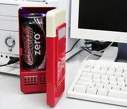 Refrigeradores de bebidas online-Al por mayor-Mini USB PC Refrigerador Congelador Refrigerador Bebidas Bebidas Cans Warmer Cooler System