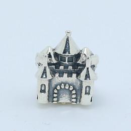 Wholesale Pandora Castle - High-quality 100% 925 Sterling Silver &14k Gold Castle & Crown Charm Bead Fits European Pandora Jewelry Bracelets & Necklaces