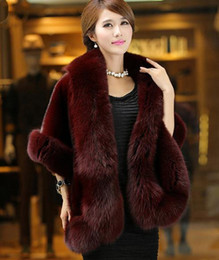 Wholesale Natural White Fur Cape - Free Shipping New Womens Faux Fur Cape Cloak Coat Sleeveless Poncho Outwear Cardigan Fur Coat