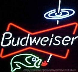 "Wholesale Budweiser Led Sign - Budweiser Bowtie Fish Beer Bar Neon Sign Real Glass Tuble Disco KTV CLub Motel Pub Sign Advertising Display LED Logo 17""X14"""