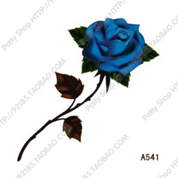 Wholesale Blue Rose Stickers - Wholesale-Free Shipping 38 waterproof tattoo stickers blue rose tattoo paper a541
