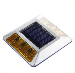 Wholesale Dock Lights - Outdoor Solar Lighting 6LEDs Road Stud Driveway Pathway Stair Deck Dock Lights White Yellow Red Blue Green Light Color Available Solar Light