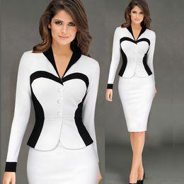 Victoria 2016 Hot new moda feminina preto e branco cores misturadas vestido pacote hip vestido Frete Grátis fábrica de entrega rápida por atacado de