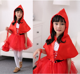 Wholesale Nice Performance - Fairy Tales Little Red Riding Hood Cosplay Set Girls Nice Gift Performance Costumes Children's Cosplay Kids's holiday Princess Dress