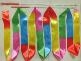 New 4M ginnastica colorata nastro ginnastica ritmica arte balletto danza nastro Streamer twirling asta bastone multi colori da regali ginnastici fornitori
