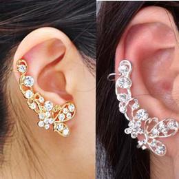 Wholesale Ear Clamps - Retro Butterfly Flower Crystal U Shape Ear Cuff Stud Earrings for Women Single Ear Wrap Clip On Clamp Jewelry
