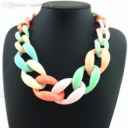 Wholesale Thick Colorful Necklaces - Wholesale-Circle Chunky Necklaces & Pendants For Women Accessories Fashion Necklace Colorful Resin Glam Thick Chain Statement Necklace