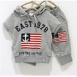 Wholesale Blue Grass Covers - Grey Sailor Flag Boys Hooded Sweatshirts Pants Sets Toddler Outfits 100% Cotton
