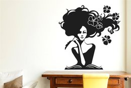 Wholesale Wall Stickers Women - Woman In Deep Thought With Flowers wall sticker vinyl wall decal for room decor