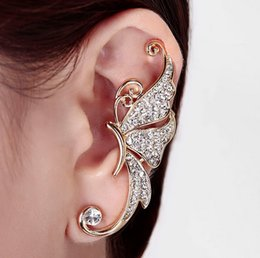 Wholesale Wing Earring Cuff - Gold Plated Shiny Pink White Crystal Womens Butterfly Wings Shape Ear Clip Clamp Earrings Gifts LZ