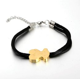 Wholesale Teddy Bear Jewelry Set - valentines gifts The new bracelet Titanium steel cute teddy bear cotton rope bracelet one color bear jewelry women's Bracelets TOP1227
