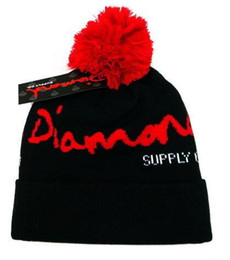 Wholesale Black White Diamond Beanie - wholesale 2017 Fashion Unisex Beanie Street Hip Hop Beanies Winter Warm hat diamond Knitted Wool Hats for Women Men touca gorros Bonnet Cap
