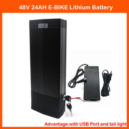 Wholesale Used Tail Lights - 48V Ebike Battery 48V 24AH 1000W Rear Rack Lithium Battery Use for samsung cell with USB port & Tail Light 48V Rear rack battery