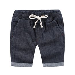 Wholesale Denim Shorts For Kids - Summer boys shorts wholesale quality Korea Deep blue cotton denim draw cord shorts PP pant for boy 100-140 Children kids baby clothing