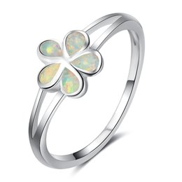 Wholesale Woman Ring Design Gemstone - 925 Sterling Silver Jewelry Pandora Ring Flower Design Fire Opal Rings Simulated Gemstone Rings For Women
