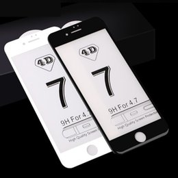 Wholesale 4d Glasses - 4D Curved Tempered Glass for iPhone 8 7 6Plus Ultra-Smooth High Quality Full Cover Screen Protector Film for iphone X 8 7 6s