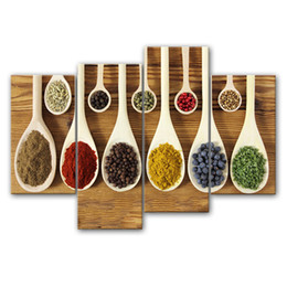 Wholesale Picture Seasons - 4 Pieces Seasoning Painting Wall Art A Variety of food Spices in the Spoon Picture Print On Canvas Wall Art For Restaurant Decor