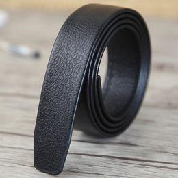 Wholesale automatic belt buckles - Fashion Belts for Men Ratchet Leather Durable Good Belt Size 36 xxl Simple Strap Automatic No Buckle Mens Lengthen 130cm